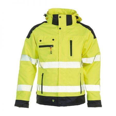 herock hi vis yellow and navy hooded jacket