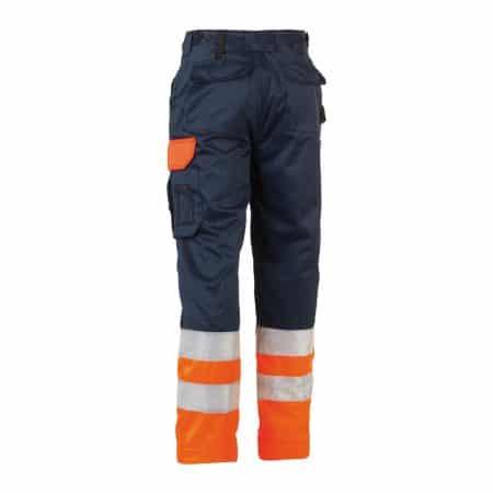 herock olympus navy and orange hi vis trousers reverse