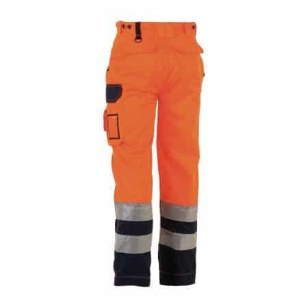 herock olympus orange and navy hi vis trousers reverse