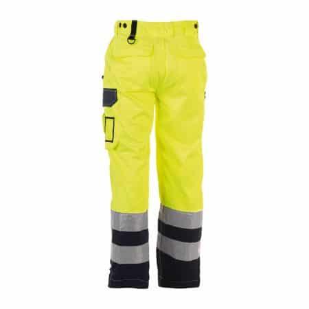 herock olympus yellow and navy hi vis trousers reverse