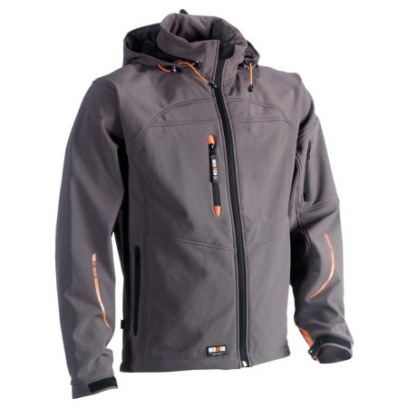 herock poseidon softshell zip-front jacket in grey