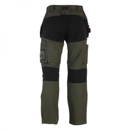 herock spector work trousers in khaki and black reverse
