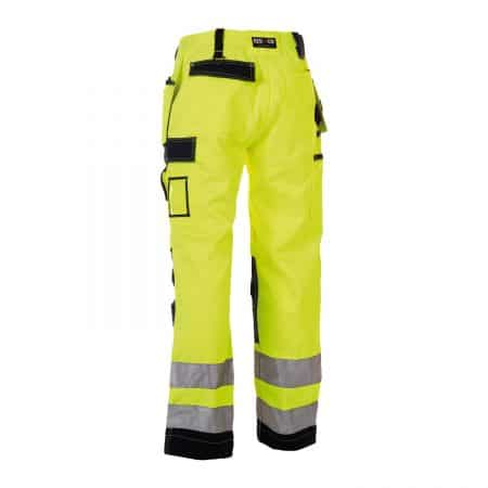 herock yellow and navy hi vis trousers reverse