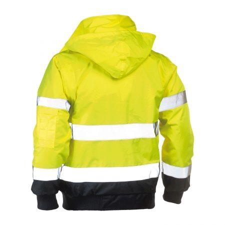 herock hi vis yellow and navy hooded jacket reverse