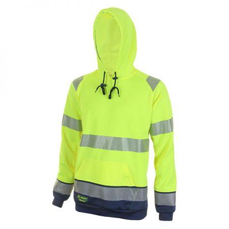 hi vis yellow and navy hoodie
