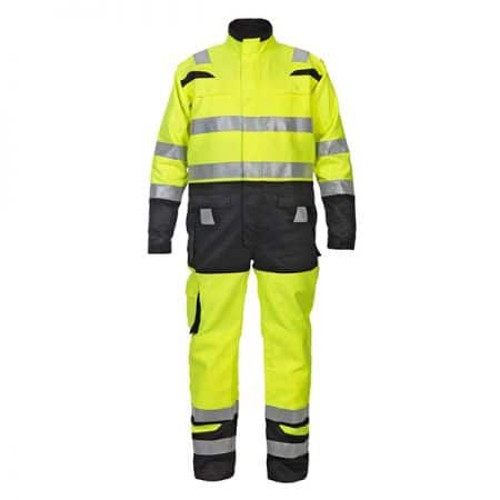 hi vis yellow and black coverall