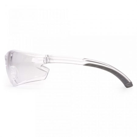 pyramex itek frameless premium safety glasses with clear anti fog lens side view