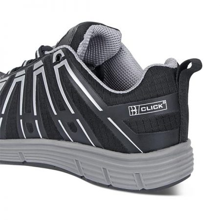 click safety sports trainer in black reverse view