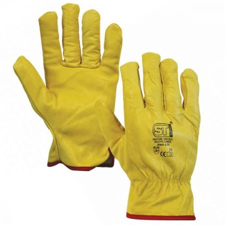 supertouch drivers gloves with fleece lining in yellow