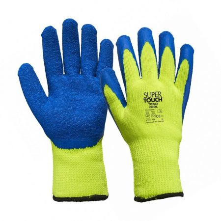 supertouch cool winter work gloves in blue and yellow