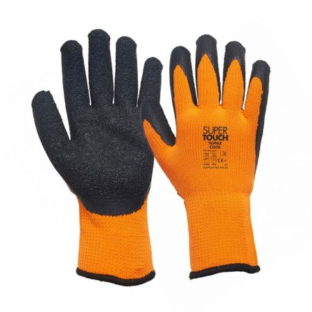supertouch cool winter work gloves in orange and grey