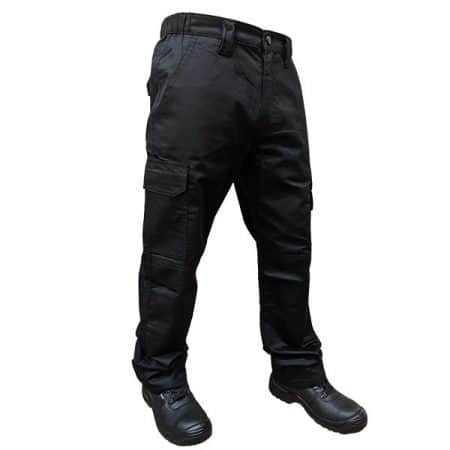 supertouch black combat trousers with knee pad pockets