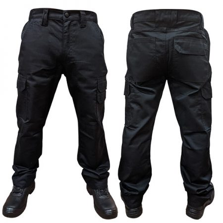 supertouch combat trousers with knee pad pockets in black