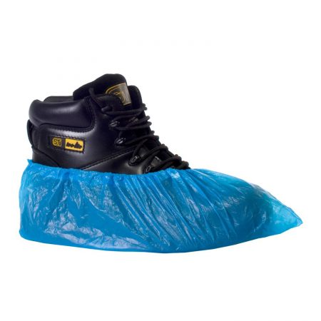 supertouch disposable overshoes in blue side angle