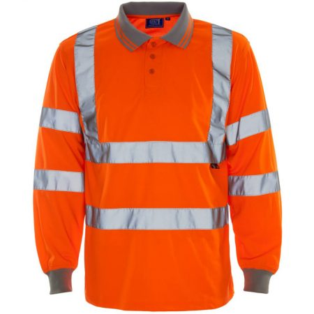 supertouch hi vis long sleeve polo shirt in orange
