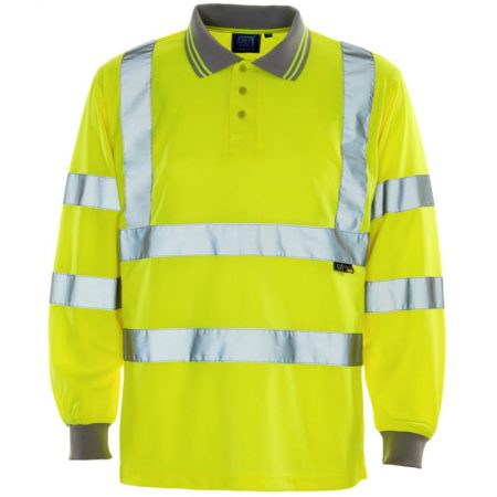 supertouch hi vis long sleeve polo shirt in yellow