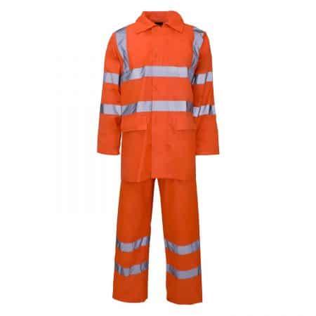 orange hi vis hooded rain suit
