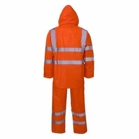 orange hi vis hooded rain suit reverse