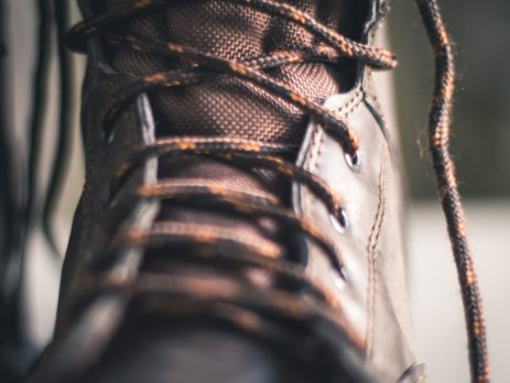 close up of safety boot and laces