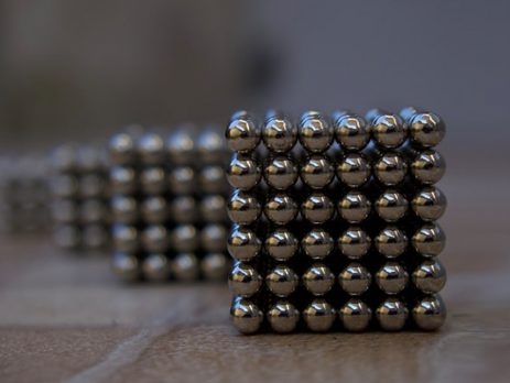 stacked up cubes of small neodymium magnets